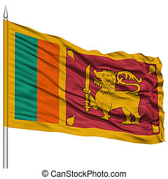 Sri Lanka Flag on Flagpole , Flying in the Wind, Isolated on...