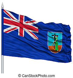 Montserrat Flag on Flagpole , Flying in the Wind, Isolated...