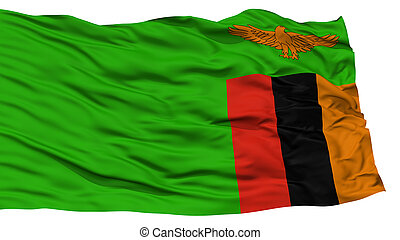 Isolated Zambia Flag, Waving on White Background, High...