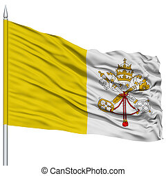 Vatican Flag on Flagpole , Flying in the Wind, Isolated on...