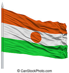 Niger Flag on Flagpole , Flying in the Wind, Isolated on...