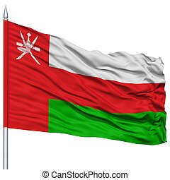 Oman Flag on Flagpole , Flying in the Wind, Isolated on...