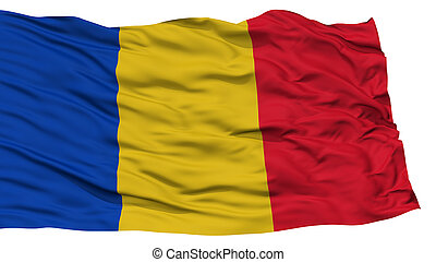 Isolated Romania Flag, Waving on White Background, High...