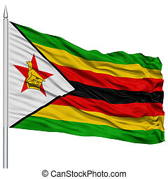 Zimbabwe Flag on Flagpole