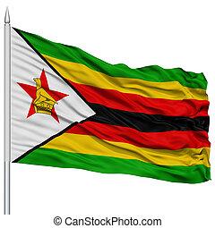 Zimbabwe Flag on Flagpole