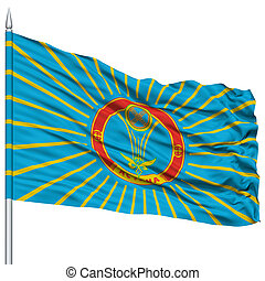 Astana City Flag on Flagpole, Capital City of Kazakhstan,...