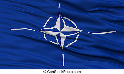 Closeup NATO Flag, Waving in the Wind, High Resolution