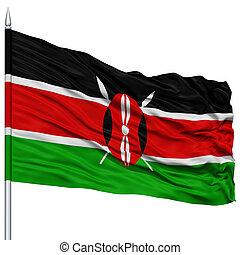 Kenya Flag on Flagpole , Flying in the Wind, Isolated on...