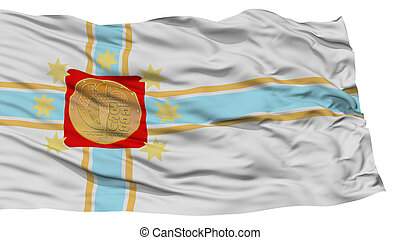 Isolated Tbilisi City Flag, Capital City of Georgia, Waving...
