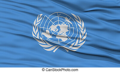 Closeup United Nations Flag, Waving in the Wind, High...