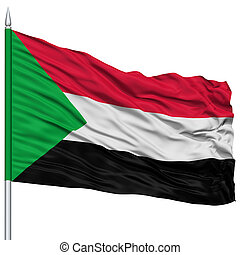 Sudan Flag on Flagpole , Flying in the Wind, Isolated on...