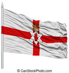 Northern Ireland Flag on Flagpole , Flying in the Wind,...