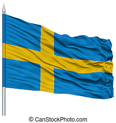 Sweden Flag on Flagpole , Flying in the Wind, Isolated on...
