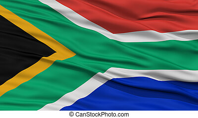 Closeup South Africa Flag, Waving in the Wind, High...