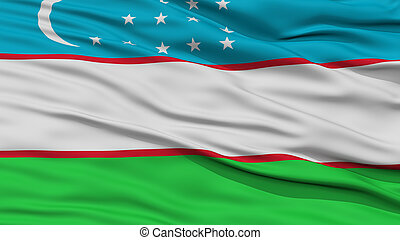 Closeup Uzbekistan Flag, Waving in the Wind, High Resolution