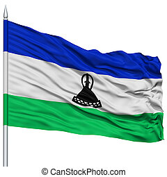 Lesotho Flag on Flagpole , Flying in the Wind, Isolated on...