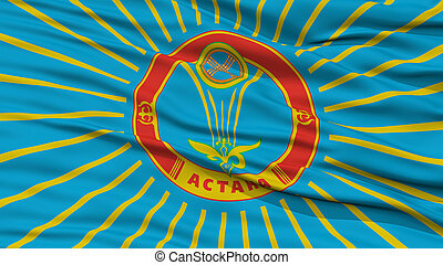 Closeup Astana City Flag, Kazakhstan - Closeup Astana City...