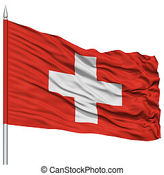 Switzerland Flag on Flagpole , Flying in the Wind, Isolated...