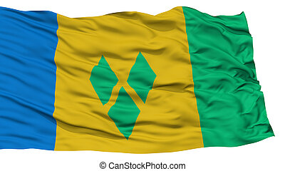 Isolated Saint Vincent and Grenadines Flag, Waving on White...