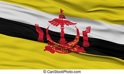 Closeup Bandar Seri Begawan City Flag, Brunei - Closeup...