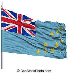 Tuvalu Flag on Flagpole , Flying in the Wind, Isolated on...