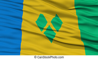 Closeup Saint Vincent and Grenadines Flag, Waving in the...