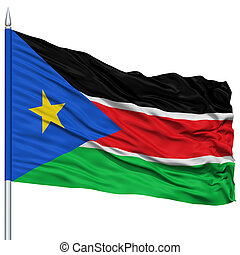 South Sudan Flag on Flagpole , Flying in the Wind, Isolated...