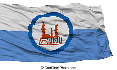 Isolated Cairo City Flag, Capital City of Egypt, Waving on...