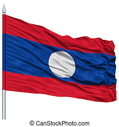 Laos Flag on Flagpole , Flying in the Wind, Isolated on...