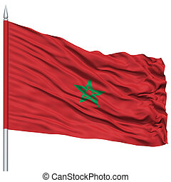 Morocco Flag on Flagpole , Flying in the Wind, Isolated on...