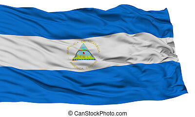 Isolated Nicaragua Flag, Waving on White Background, High...