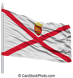 Jersey Flag on Flagpole , Flying in the Wind, Isolated on...