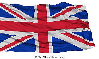 Isolated United Kingdom Flag, Waving on White Background,...