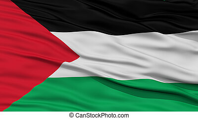 Closeup Palestine Flag, Waving in the Wind, High Resolution