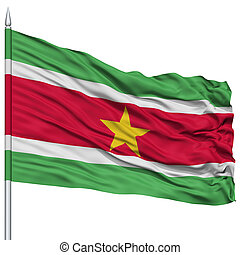 Suriname Flag on Flagpole , Flying in the Wind, Isolated on...