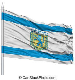 Jerusalem City Flag on Flagpole, Capital City of Israel,...