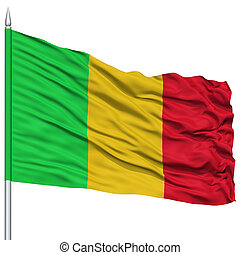 Mali Flag on Flagpole , Flying in the Wind, Isolated on...