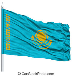 Kazakhstan Flag on Flagpole , Flying in the Wind, Isolated...