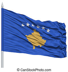 Kosovo Flag on Flagpole , Flying in the Wind, Isolated on...