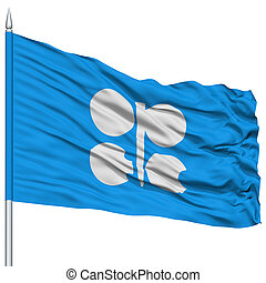 OPEC Flag on Flagpole , Flying in the Wind, Isolated on...
