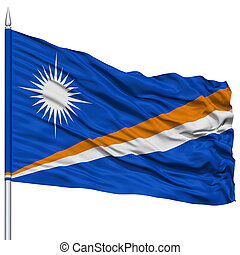 Marshall Islands Flag on Flagpole , Flying in the Wind,...