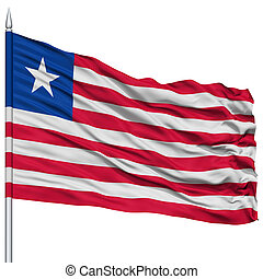 Liberia Flag on Flagpole , Flying in the Wind, Isolated on...