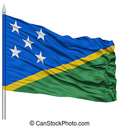 Solomon Islands Flag on Flagpole , Flying in the Wind,...
