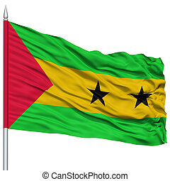 Sao Tome and Principe Flag on Flagpole , Flying in the Wind,...