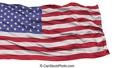 Isolated United States Flag, Waving on White Background,...