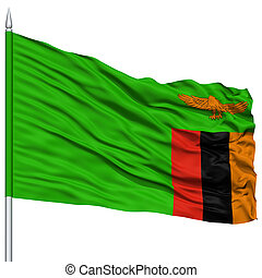 Zambia Flag on Flagpole , Flying in the Wind, Isolated on...