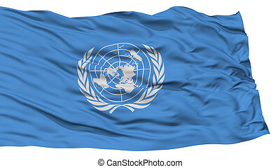 Isolated United Nations Flag, Waving on White Background,...