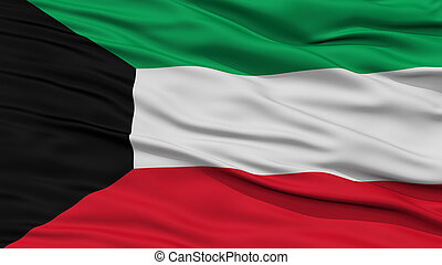 Closeup Kuwait Flag, Waving in the Wind, High Resolution