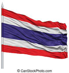 Thailand Flag on Flagpole , Flying in the Wind, Isolated on...