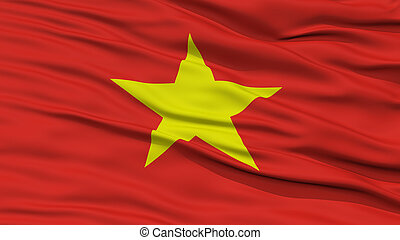 Closeup Vietnam Flag, Waving in the Wind, High Resolution